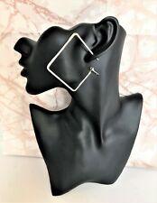 Square Hoop Earrings Dangle 6 cms Drop in silver tone