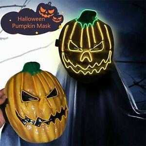 Scary LED Pumpkin Head Mask Halloween Jack O Lantern Cosplay Party Decor Props