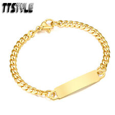 TTstyle Gold Tone S. Steel Curb Chain ID Bracelet Children/Small Wrist 14cm
