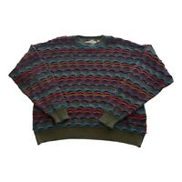 VTG 90s Crossings Multi Color Coogi Style 3D Textured Cosby Sweater Men's XL