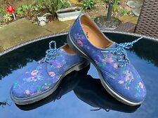 Dr. Martens 1461 blue denim vintage floral bouquet 3-eye lace shoes UK 6 EU 39