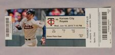 Minnesota Twins Vs Kansas City Royals 6/10/15 Ticket Stub