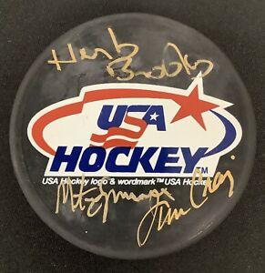 Herb Brooks Signed Puck 1980 US Hockey Team Mike Eruzione Jim Craig Auto PSA/DNA