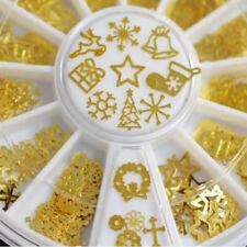Gold 3D Metal Nail Slice Wheel Snowflake Stickers Decal Foil Art Decor 1 Box