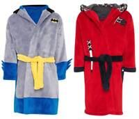 M&S soft fleece boys dressing gown batman knight NEW age 1 2 3  bathrobe baby