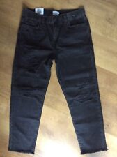 W32 L32 MEN'S URBAN OUTFITTERS LOOM JULES SLASH BLACK CROPPED RAW EDGE JEANS NEW