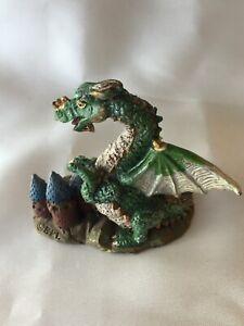 Baby Dragon with castle Figurine Ornament Statue Sculpture Fantasy Myth Figure