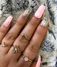 20 Set Pink Silver Glitter Accent Neon Hand Painted Press On Fake False Nails