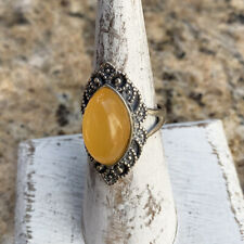 Natural Amber Ring with 925 Sterling Silver Setting Adjustable Ring Size