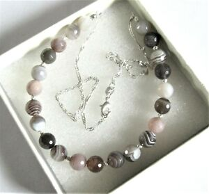 Beautiful *Botswana Agate* on a Sterling silver Singapore chain necklace