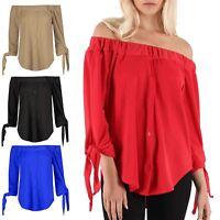 Ladies Crepe Bardot 3/4 Tie Sleeve TShirt Womens Off Shoulder Curved Hem Top