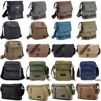 Men Women Vintage Canvas Schoolbag Satchel Shoulder Messenger Bag Laptop Handbag