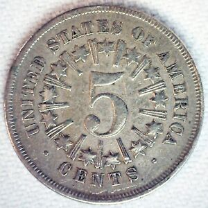 1866 Shield Nickel w/Rays 5c US Type Coin Fine Circulated Cleaned Philadelphia