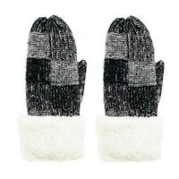 Women's Mittens Sherpa Fleeced Winter Cozy Color Block Knit Thick Winter Glove