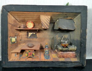 "Antique 19th Century 5.5"" ROOM BOX Wall Hanging German Dollhouse Miniature"