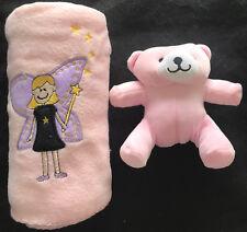 Pink Embroidered Fairy Baby Polar Fleece Blanket with Teddy Bear