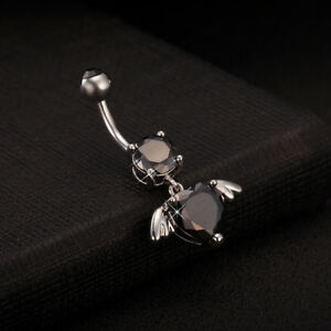Dangle Love Angel Wing Navel Ring Black Gems Piercing Jewerly for Belly Dance