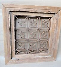 ANTIQUE WINDOW GRILL GRATE GUARD WROUGHT IRON JALI WOOD FRAME BRITISH ARCHITECT