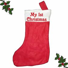MY 1ST CHRISTMAS Xmas Santa Stocking Printed Festive Father Christmas Customised