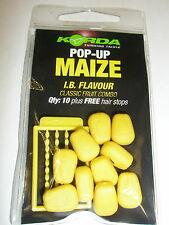 Korda Pop up Maize Fake Food 10pk + hairstops ALL FLAVOURS Fishing tackle
