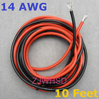 14 AWG 10 Feet (3m) Gauge Silicone Wire Flexible Stranded Copper Cables for RC