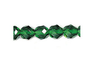 50 Emerald Faceted Round Glass Beads 8MM