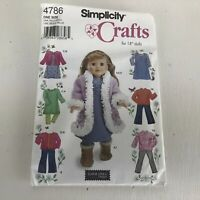 "Simplicity Crafts Pattern #4786 for 18"" Dolls Elaine Heigl Designs"