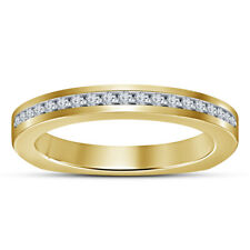 14K Yellow Gold Over Size 7 8 Round Cut Ladies Wedding Band Anniversary Ring