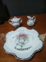 Norcrest Fine China Silver Inlay 25th Anniversary Creamer & Sugar, Plate, Japan