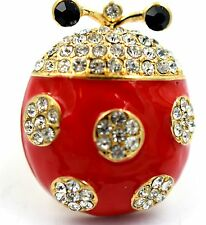 Red Clear Ladybug Stretch Ring Crystal Rhinestone Animal Bling Jewelry RA25