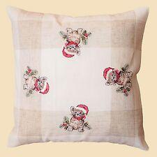 Kissenhülle Kissenbezug Stickerei Katze Weihnachten 40cm x 40cm ecru beige