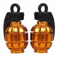Gold 4Pcs Tire Wheel Rim Stem Air Valve Caps Cover Car Truck Bike Grenade SUV