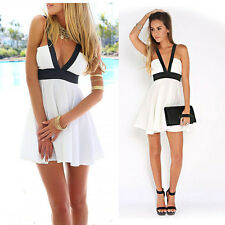 SEXY Babydoll Dress Deep V Plunge Empire Line Evening Cocktail Dress White sizeS