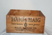 Vintage Haig & Haig Scotch Whiskey Empty Wood Crate Box Carrier Holds 12 Bottles