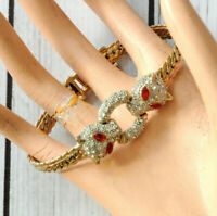 vintage red rhinestone pave cat panther bracelet gold tone