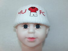 MANCHESTER UNITED NOVELTY KNITTED BABY HAT SIZE NEWBORN