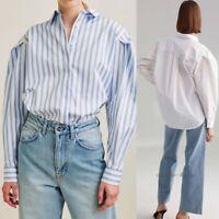 Women's Stripe Loose Shirts Blouse 100% Cotton Puff Sleeve Tops XS S M Haihk