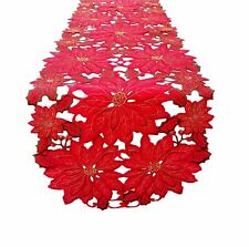 "54"" x 16"" Fashions Fancy Flowers Embroidered Cutwork Spring Table Runner RD"