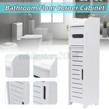 White Bathroom Floor Corner Cabinet Toilet Paper Storage Holder Organizer Shelf