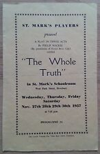 The Whole Truth programme St. Mark's Players Dewsbury 1957 Sylvia Hargreaves
