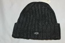 UGG Australia Men's Knit Beanie Charcoal Grey Wool Blend Hat One Size