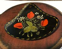 Antique Tin Toleware Strawberry Painted Motif Signed Spoon Rest Scoop Primative