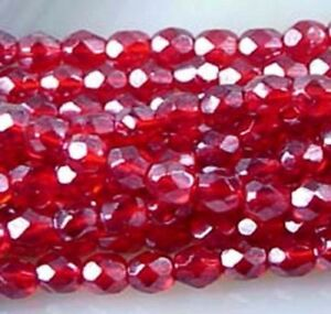 50 Firepolish Czech glass Faceted Round Luster Ruby 4mm