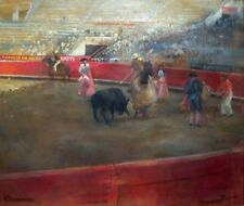 "PAUL CLEMENS Signed c. 1948 Original Oil Painting - ""Bullfight in Mexico"""