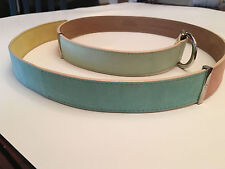 NEW! ESCADA ITALIAN THREE COLOR NARROW WOMEN BELT SUEDE SIZE LARGE