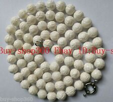 Natural 10mm White Coral Carving lotus Gems Round Bead Necklace 35'' AAA