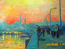Nino Pippa Orientalist Painting of Istanbul Sunset Anglers on the Galata Bridge