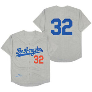 Throwback 1963 Sandy Koufax #32 Baseball Jerseys Los Angeles Hemp Ash S-3XL