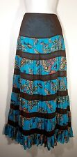 Size 12 Summer MAXI Long Tiered Peasant Boho Gypsy Teal Brown Woman's SKIRT