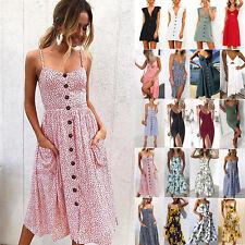 AU Women Strappy Bowknot Button Pocket Beach Dress Summer Midi Swing Sun Dresses